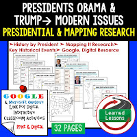President Obama and Trump, American History Research Graphic Organizers, American History Map Activities, American History Digital Interactive Notebook, American History Presidential Research, American History Summer School