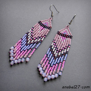 seed bead earrings beaded jewelry beadwork pink