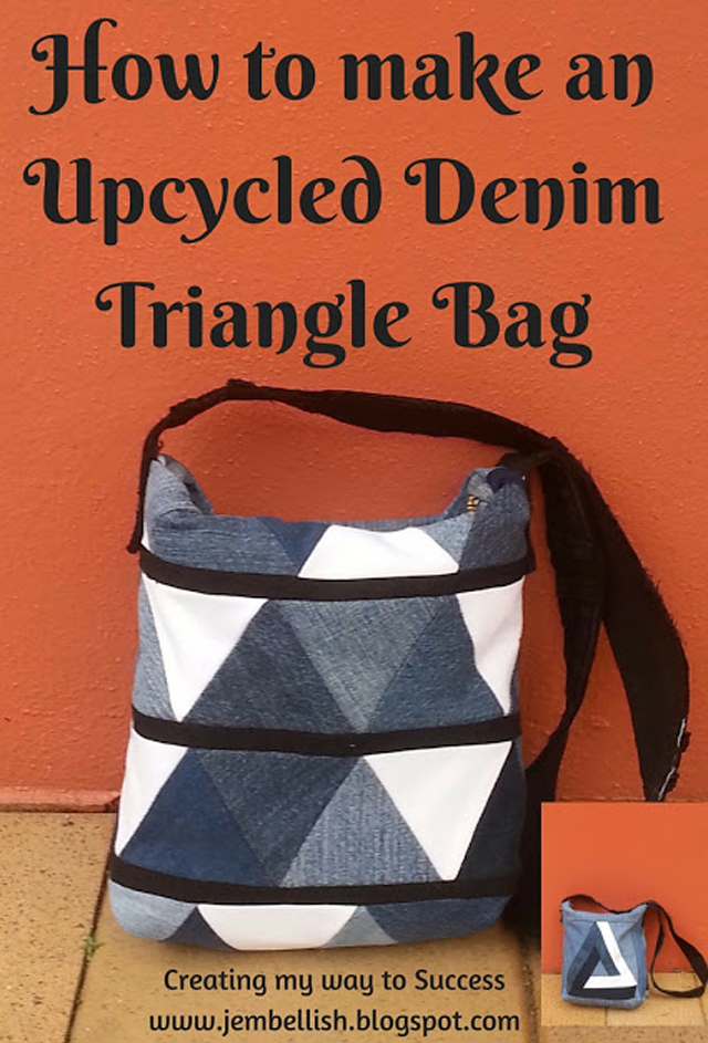 Repurpose pre-loved denim jeans and make an eye catching triangle bag. Tutorial by Creating My Way to Success.