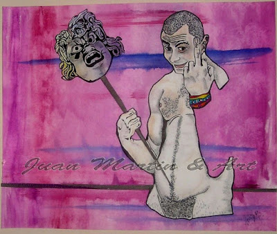 """""""Momus,"""" by Juan Martin.  (I cannot locate a website for this artist, although many pinterest pages show his work.  Most of his art is gay/pagan themed & would be of interest to likeminded folks.  If anyone finds his website, please message me so that I can link properly.)"""