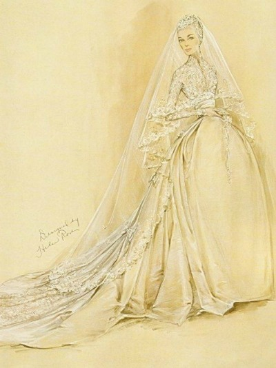 Jorjett Strumme Modeling Nolan Miller Designed Beaded Gown from TV Series Dynasty