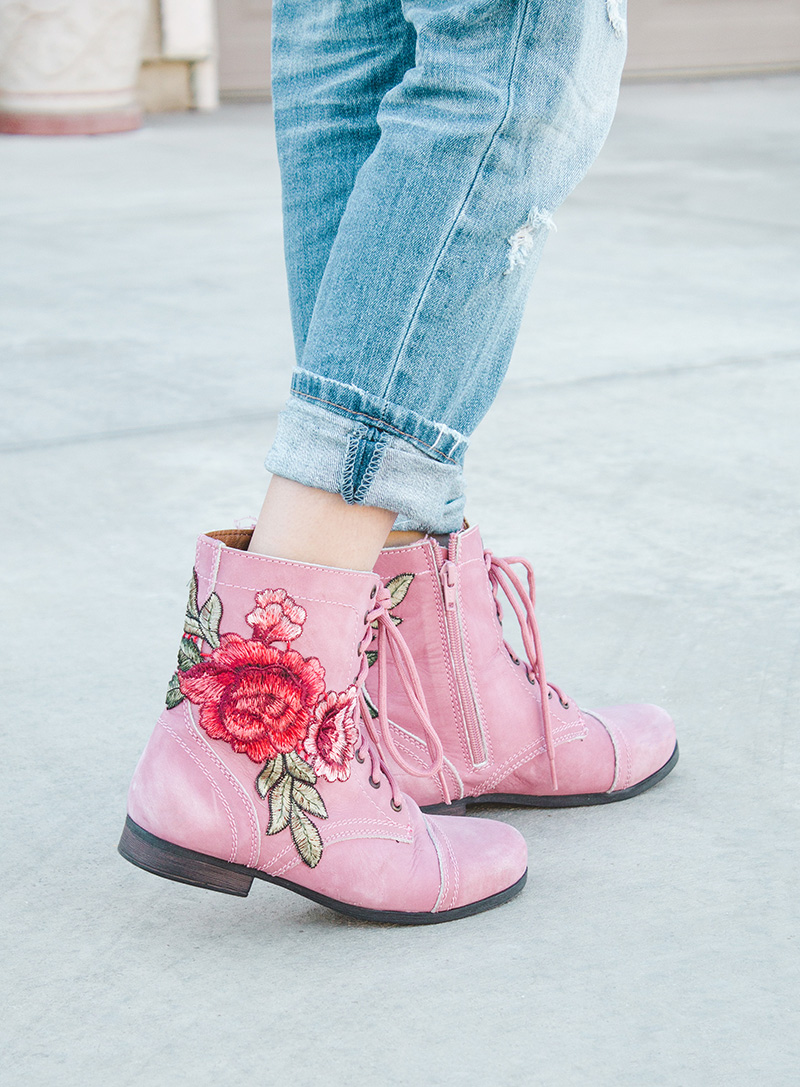 embroidered combat boots side view