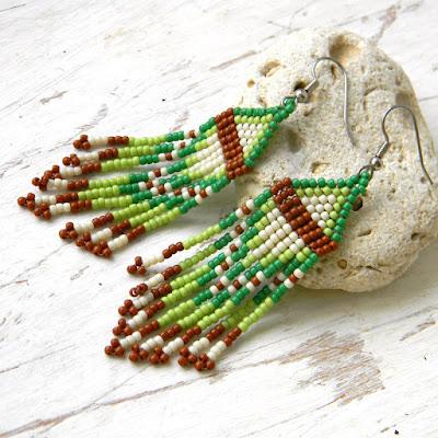 самые красивые серьги из бисера необычные длинные серьги