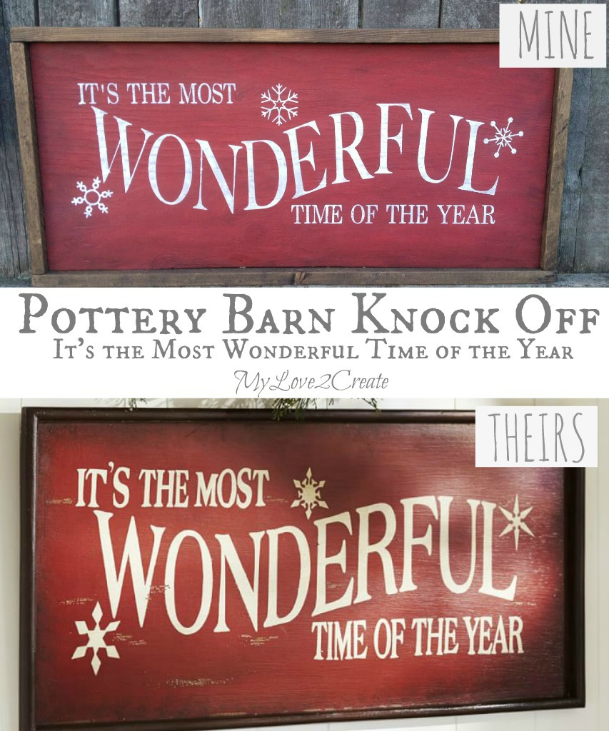 Pottery Barn Knock Off Quot It S The Most Wonderful Time Of