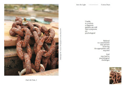 "Sample page of ""Into the Light"" by Corina Duyn with image of heavy chain and words about not being believed to be ill"