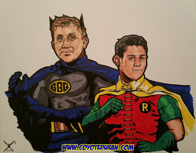 "Gennady Golovkin and Roman Gonzalez, ink and Copic/Prismacolor art markers on 11"" X 14"" Bristol Board, comic book-inspired boxing art by Coyote Duran"