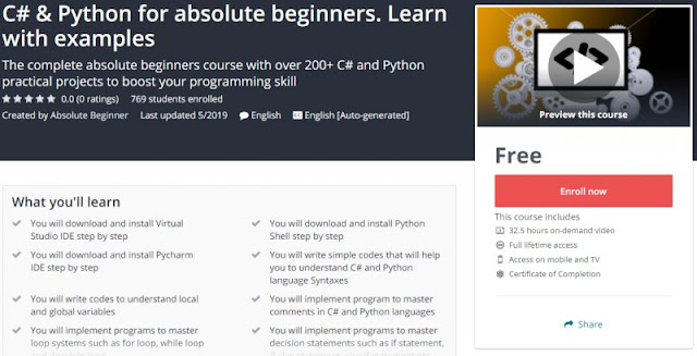 [100% Free] C# & Python for absolute beginners. Learn with examples