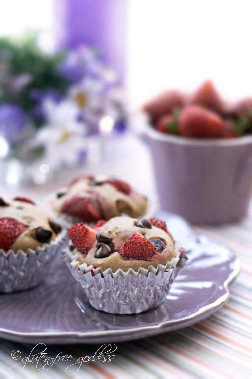 Luscious Strawberry Chocolate Chip Muffins- gluten-free, dairy-free, egg-free... and tasty!