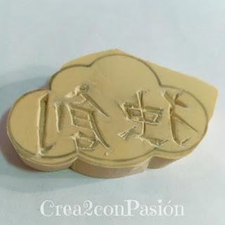 Carvado-sello-de-caucho-con-gubias-kanji-chino-en-nube-creativo-original-Crea2-con-Pasión-corte-nube