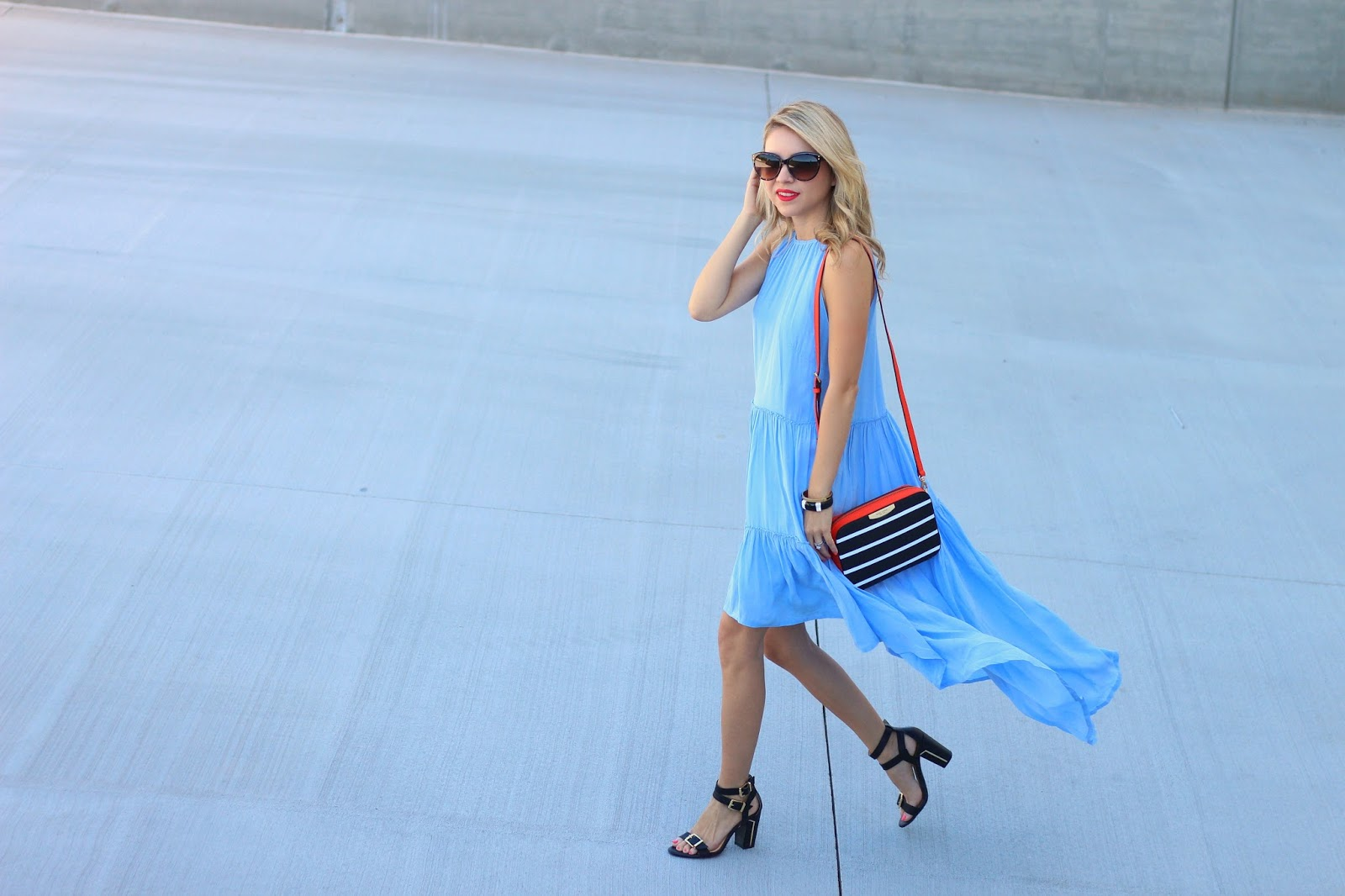 Elliatt blue dress, Henri Bendel crossbody, Orange, blue