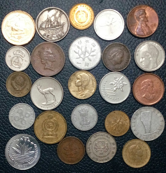 24 World Coins from 24 Countries, Very good coins, comes in PVC sleeves
