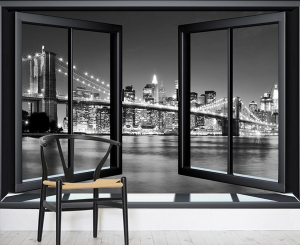 Brooklyn Bridge Tapetti 3D Ikkuna Mustavalkoinen