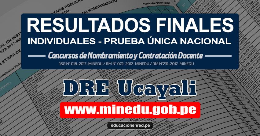 DRE Ucayali: Resultado Final Individual Prueba Única Nacional y Relación de Postulantes Habilitados para Etapa Descentralizada Nombramiento Docente 2017 - MINEDU - www.dreucayali.gob.pe