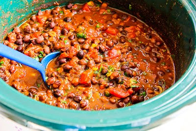 Slow Cooker Vegan Black Garbanzo Bean Curry found on KalynsKitchen.com