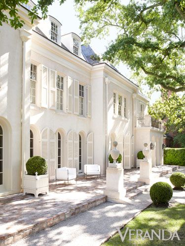 French Country Home Exterior! Pamela Pierce's gorgeous home with sophisticated French Country decor and European farmhouse charm on Hello Lovely Studio