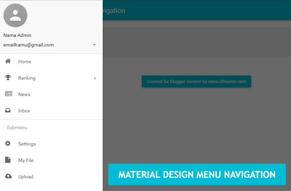 Membuat Material Design Menu Navigation di Blog