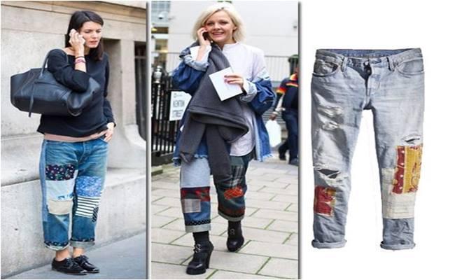 PATCHWORK em Calça Jeans