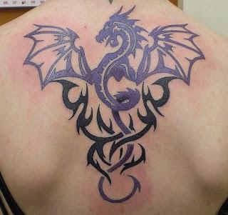 Purple and Black Tribal Tattoo On Back