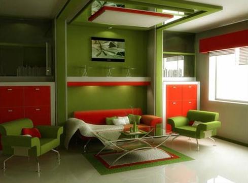 sala verde naranja