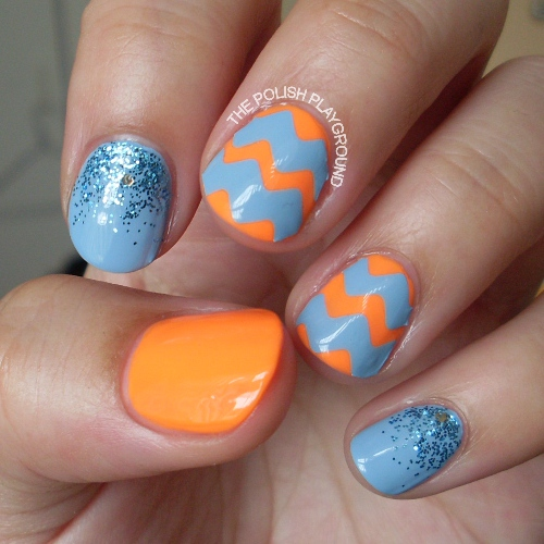 Blue and Coral Chevron Nails