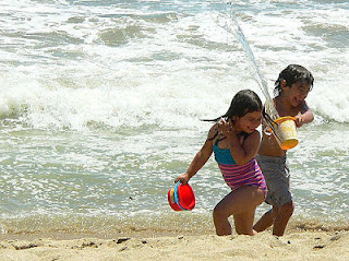 niños, playa, juegos, deporte, familia
