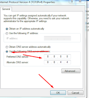 mengganti DNS server addresses