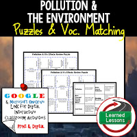 Pollution and Environment, Space Exploration, Earth Science Review Puzzles BUNDLE, Interactive Digital Notebook, Google Link, or PRINT Version, Test Prep, Unit Review, Vocabulary Activity, Earth Science Puzzles, Vocabulary, Test Prep, Unit Review