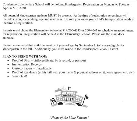 4-6/7 Kindergarten Registration Coudersport Elementary