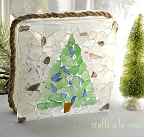 Light Glass Block Seaglass Christmas Tree Idea