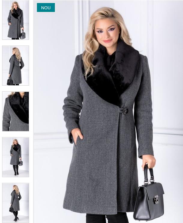 Palton femei lung elegant gri cu rever din blana la moda iarna