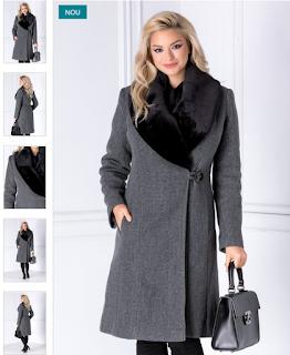 Palton femei lung elegante gri cu rever din blana la moda iarna