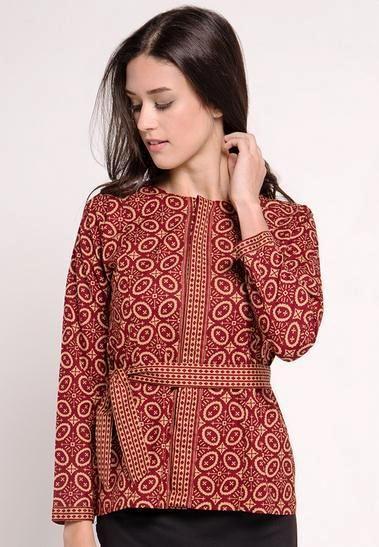 ッ 42 Model Baju Batik Atasan Wanita Kerja Lengan Panjang