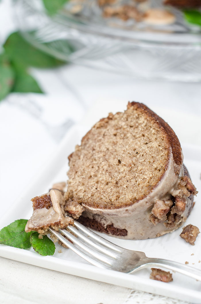 Slice of Apple Cider Bundt Cake