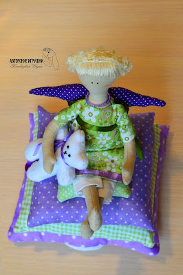 Кукла Tilda, ангел Tilda, ангел Tilda принцесса на горошине, ангел Tilda на подушках, Тильда на горошине, кукла тильда купить киев, кукла тильда в фиолетовом и зеленом