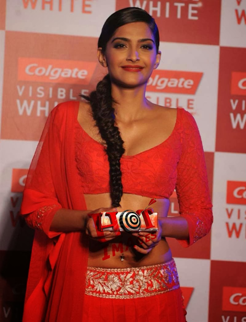 Sexy Sonam Kapoor Hot Navel Show Photos In Red Dress - Hot -7463