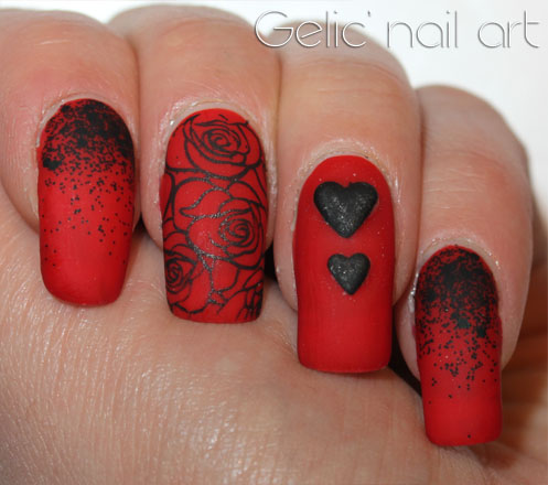 gelic' nail art black and red