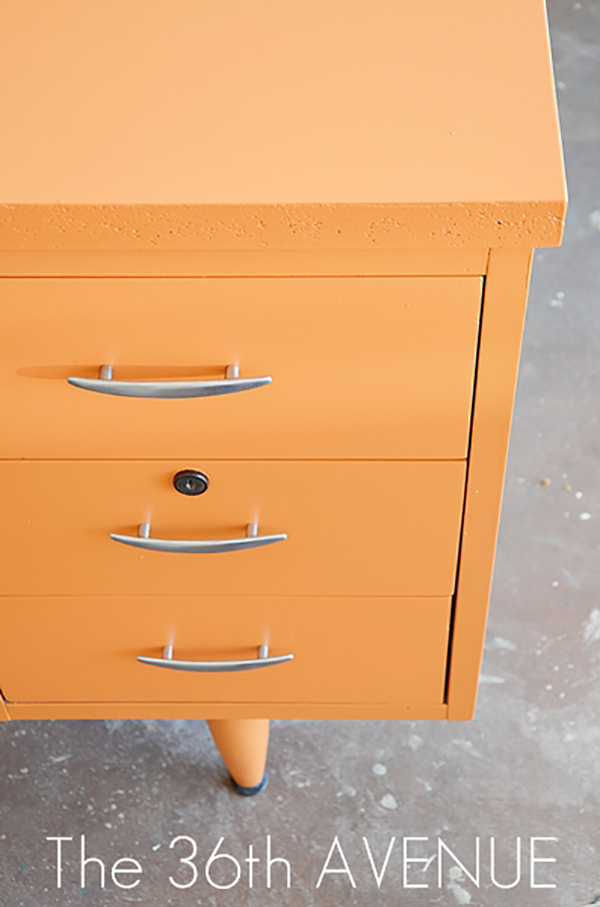 Orange painted dresser drawers. f you loved painted furniture or are thinking about using Chalk paint on furniture for the first time then you should check this post full of 25 incredible makeoevers. 25 Fabulous painted furniture ideas!
