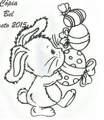 desenho de coelho com ovos de pascoa para pintar em tecido
