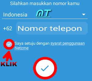 masukkan nomor telepon Netzme