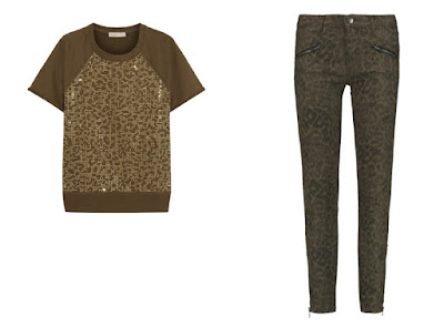 Топ и джинсы с леопардовым принтом цвета хаки