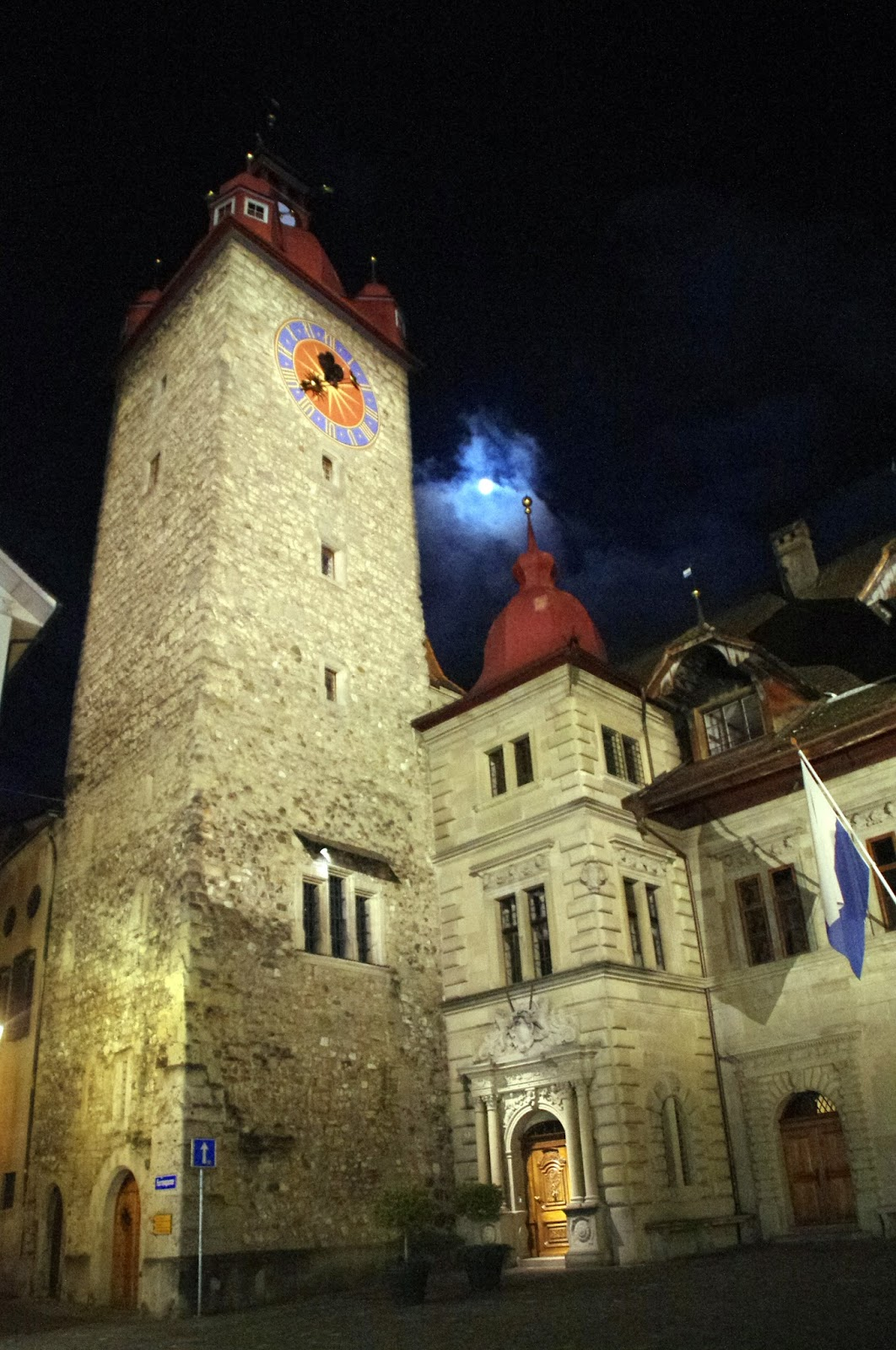 Lucerne Old Town Clock Tower Night