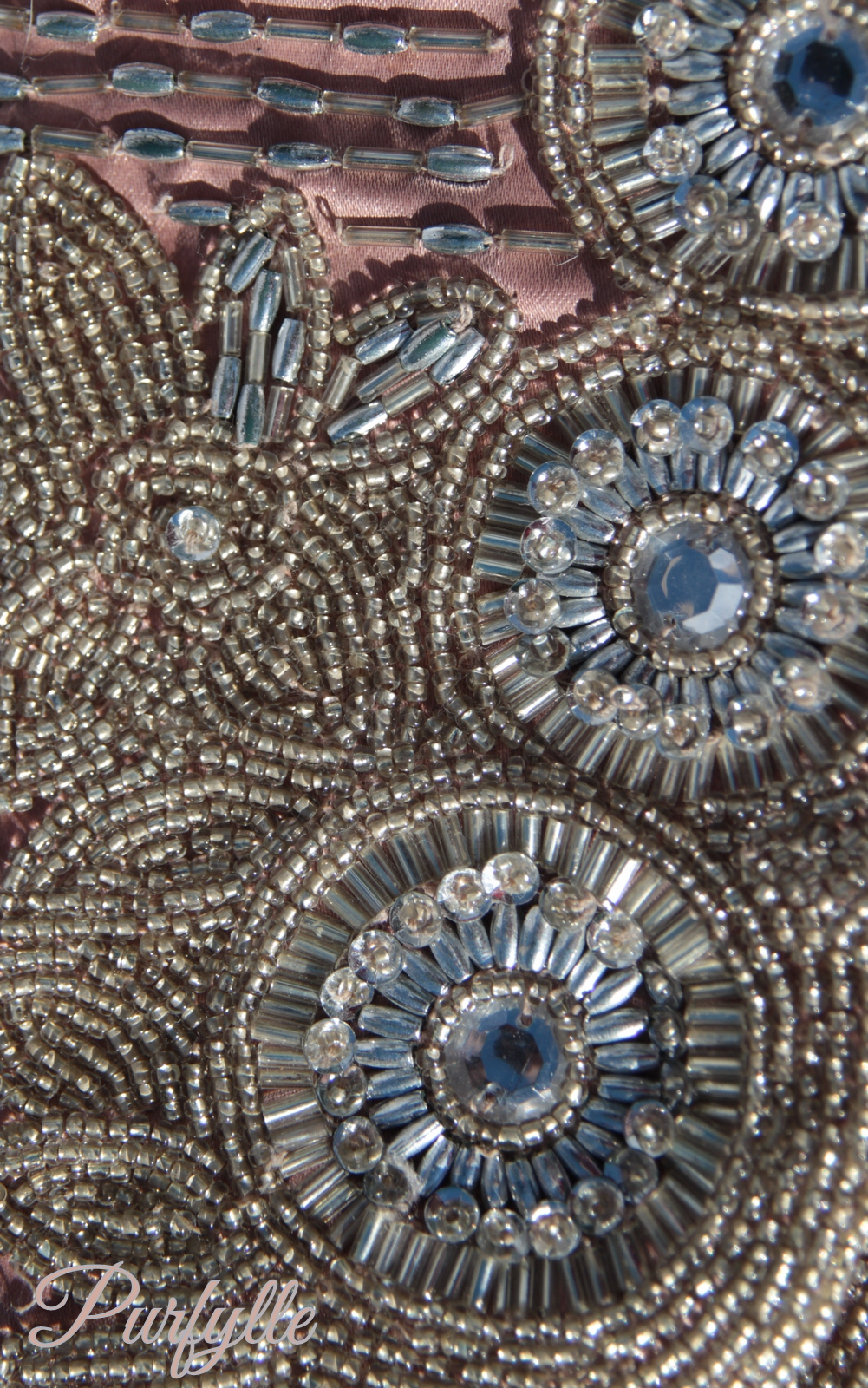 Beaded clutch - close up of bead detail work