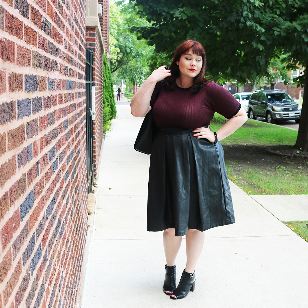 Chicago Plus Size Blogger Amber from Style Plus Curves in a Plus Size Sweater and Plus Size Leather Skirt from the Who What Wear Target Collection