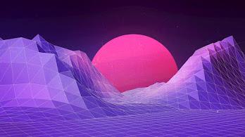Abstract, Purple, Moon, Digital Art, Landscape, 4K, #40