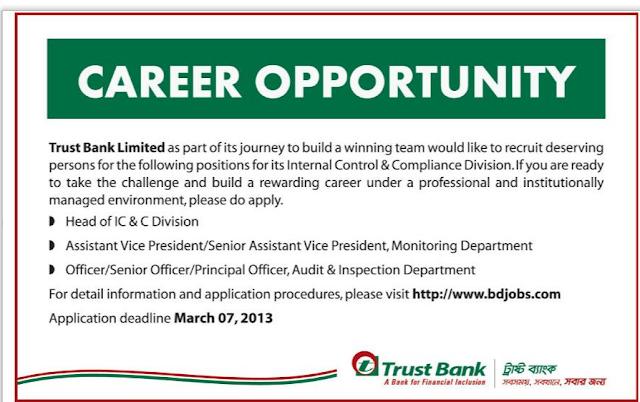 Career at Trust Bank Ltd.