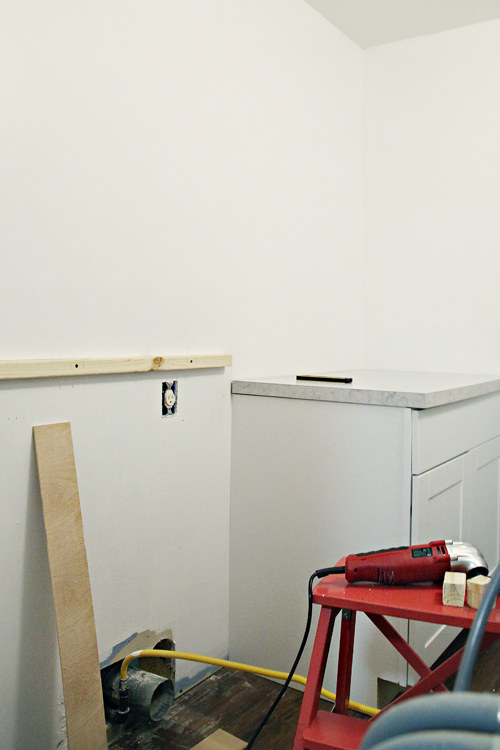 From There We Added A Ledger Board For The Counter Using A Stud Finder To Be Sure It Was Being Reinforced Along The Remainder Of The Wall