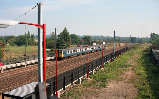 Photograph of London-bound train departing Welham Green station 1986. Image by Mike Allen