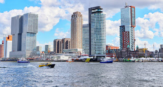 World port days Rotterdam skyline speed boat
