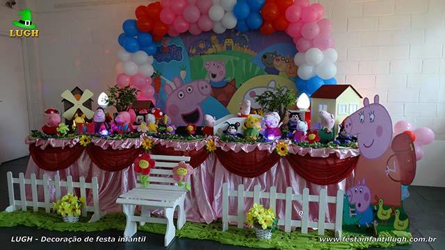 Decoração infantil Peppa Pig - Tradicional forrada de pano - tecido em cetim versão luxo