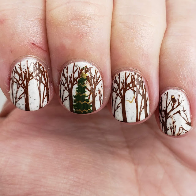 wintry treescapes, winter trees, winter forest, nail art